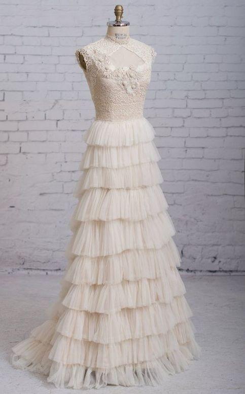 Charming A Line Wedding Dress Victorian Wedding Dress Vintage