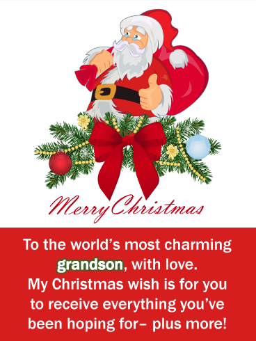 Thumbs Up From Santa Merry Christmas Card For Grandson Birthday Greeting Cards By Davia Christmas Verses Merry Christmas Card Merry Christmas Wishes