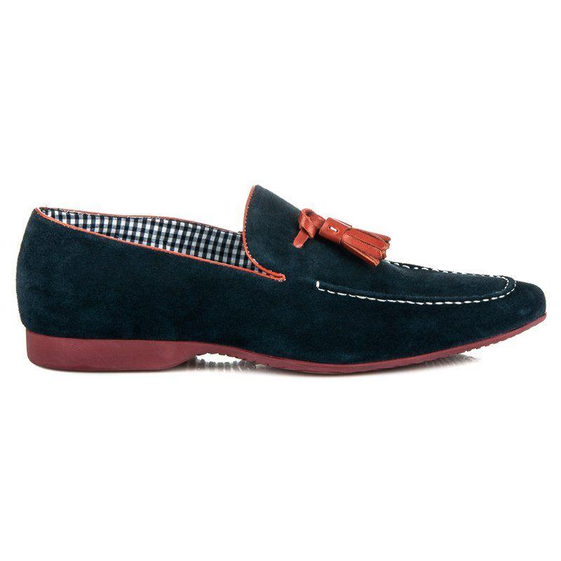 Polbuty Meskie Sorrento Niebieskie Wsuwane Mokasyny Z Fredzlami Sorrento Dress Shoes Men Loafers Men Loafers