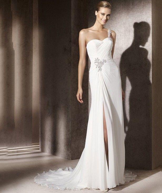 Sheath/Column One-shoulder Sleeveless Zipper Split-front Sweep/Brush Wedding Dress