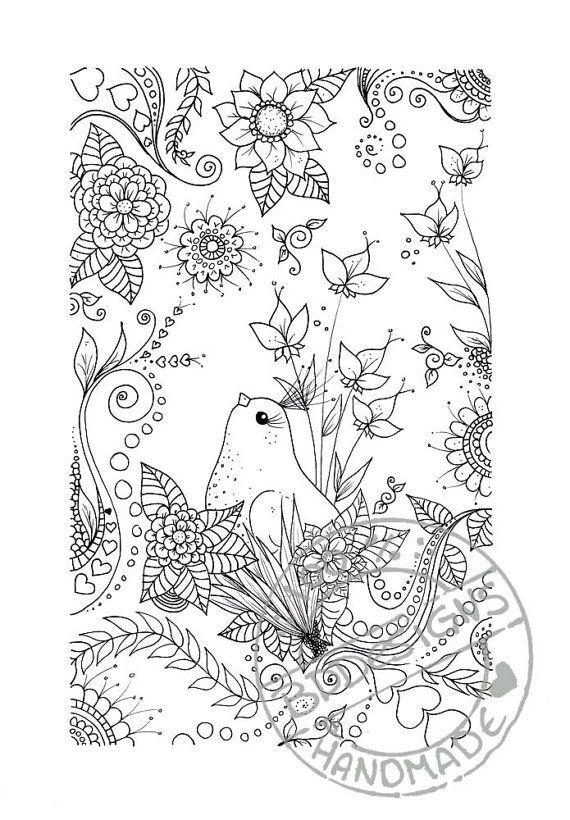 Flower Bird Abstract Doodle Zentangle Paisley Coloring Pages Colouring Adult Detailed Advanced Printable Kleuren Voor Volwassenen Col Coloring Pages Free Coloring Pages Coloring Book Pages