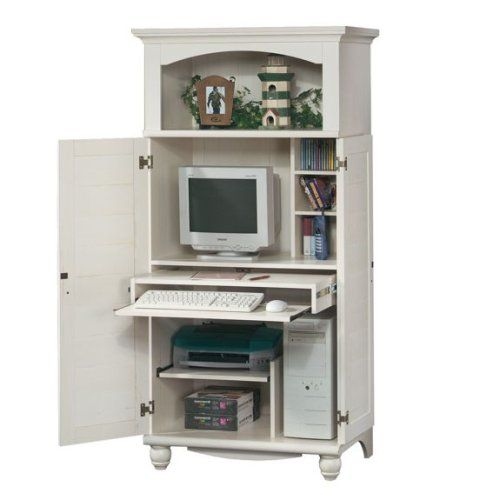 Amazon.com - Antique White Shutter Door Computer Desk Armoire - - Amazon.com - Antique White Shutter Door Computer Desk Armoire