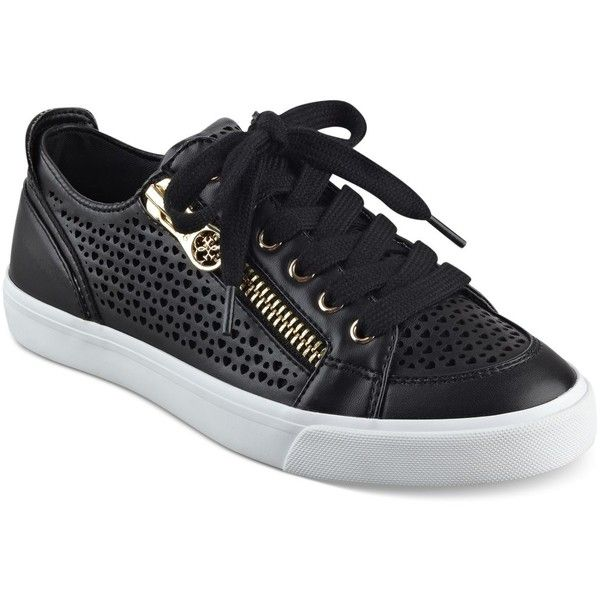 4c179cb6748 Guess Women's Gerlie Lace-Up Sneaker (€61) ❤ liked on Polyvore featuring  shoes, sneakers, black, lace up sneakers, zip sneakers, perforated sneakers,  guess ...
