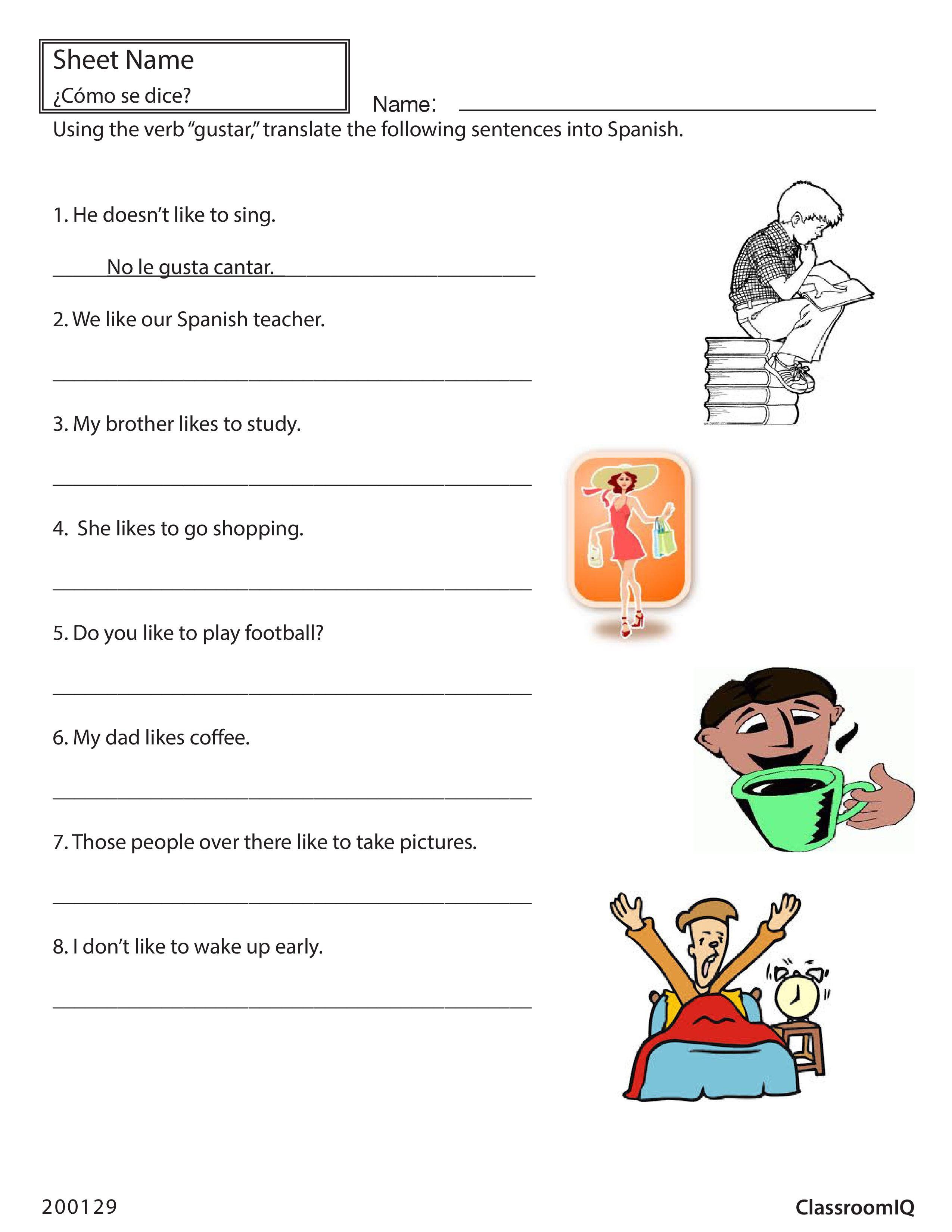 Worksheets Gustar Worksheet translate english sentences with gustar spanishworksheet newteachers printable