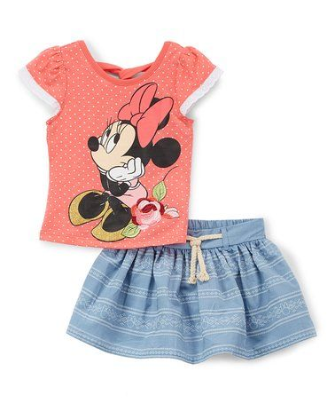 08fc1a03cf2d Another great find on  zulily! Minnie Mouse Coral Pin Dot Tee   Blue Stripe  Skort - Toddler  zulilyfinds