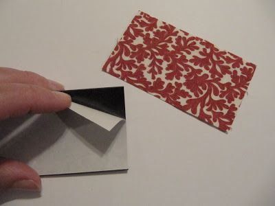 """How about a fabric magnet to match your kitchen or craft room. The magnets are 2"""" x 3 1/2""""."""