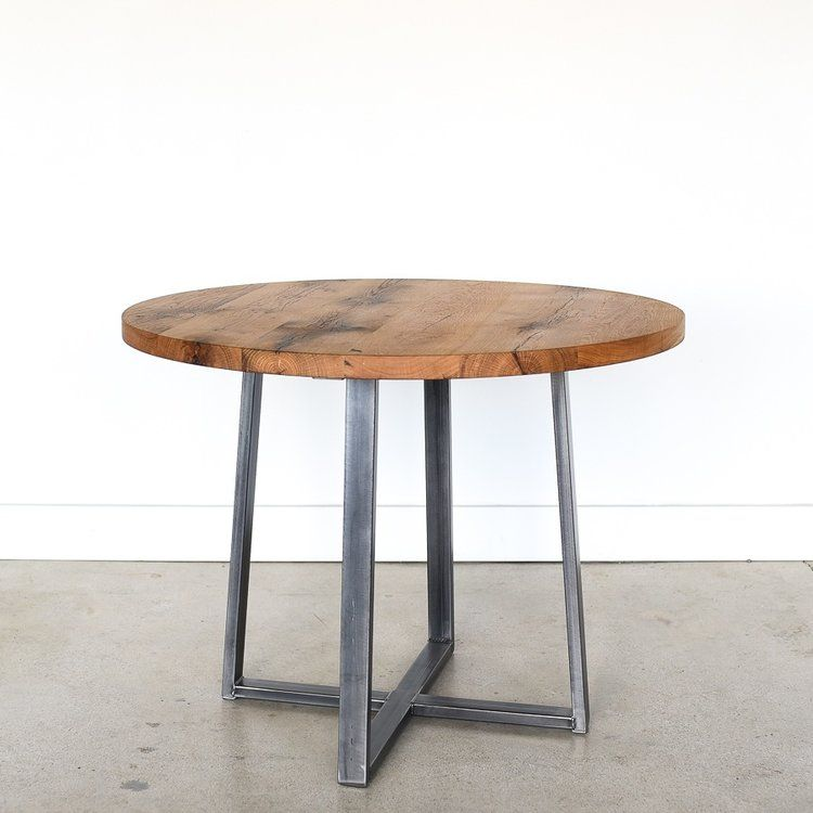 Round Kitchen Table Steel Criss Cross Base What We Make Metal Dining Table Reclaimed Wood Table Live Edge Wood Furniture