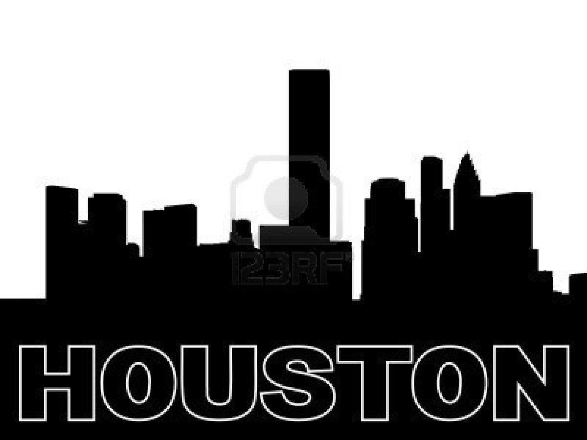 Houston Skyline Black Silhouette On White Houston Skyline Black Silhouette Skyline