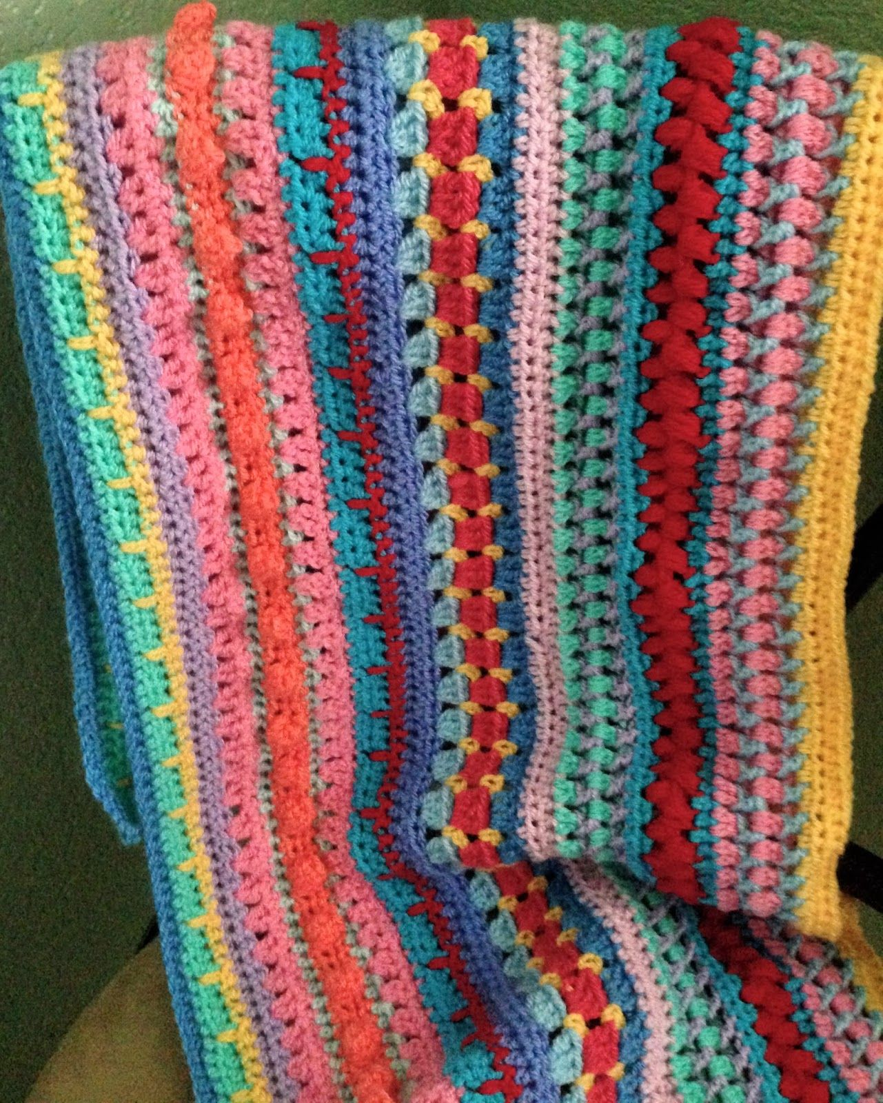 Multi-stitch Striped Blanket, free pattern by Lynne Samaan of Da's Crochet Connection. This one has some stitches I haven't seen before . . .   ღTrish W ~ http://www.pinterest.com/trishw/  . . .  #afghan #throw #mixed_stitch