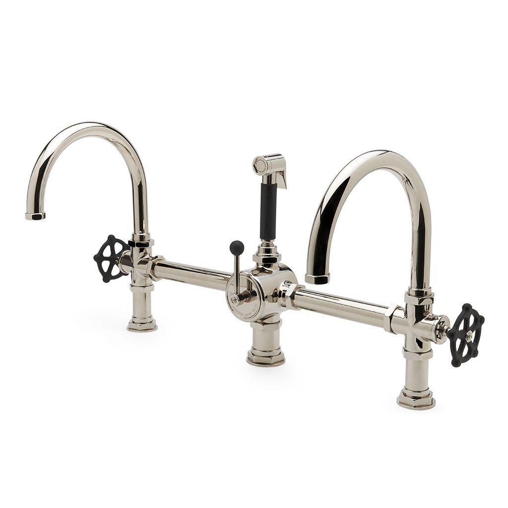 Regulator Gooseneck Double Spout Marquee Kitchen Faucet, Metal Wheel ...