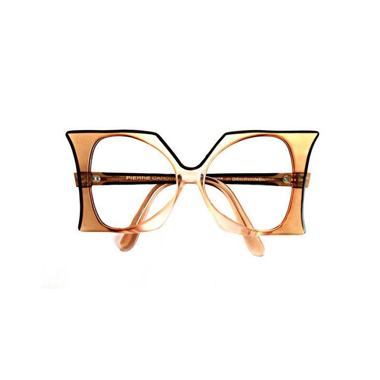 PIERRE CARDIN 1960s FRANCE Fine Vintage Pierre Cardin Eyeglass Frames.  Authentic Signed Green/amber