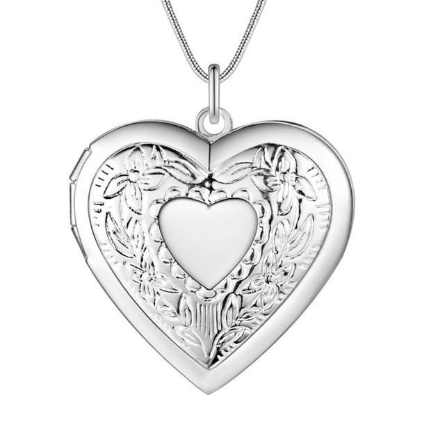 Vintage Silver Heart Frame Necklace / can be opened classic charm ...