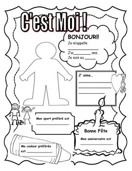 all about me c 39 est moi in french great first days of school activity first day of school. Black Bedroom Furniture Sets. Home Design Ideas
