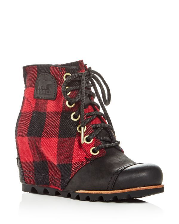 2e229c64e73 Sorel Women s Pdx Leather   Plaid Lace Up Wedge Booties ( 215) ❤ liked on  Polyvore featuring shoes