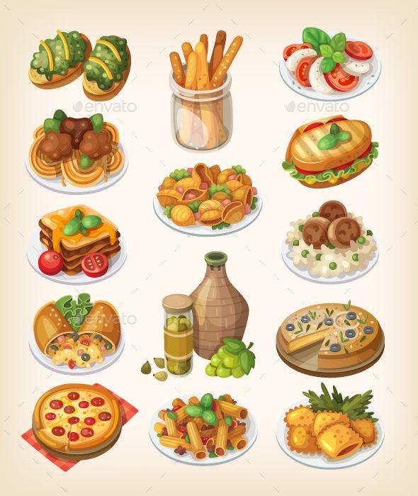 Italian Food And Meals Food Illustrations Italian Recipes Food Drawing
