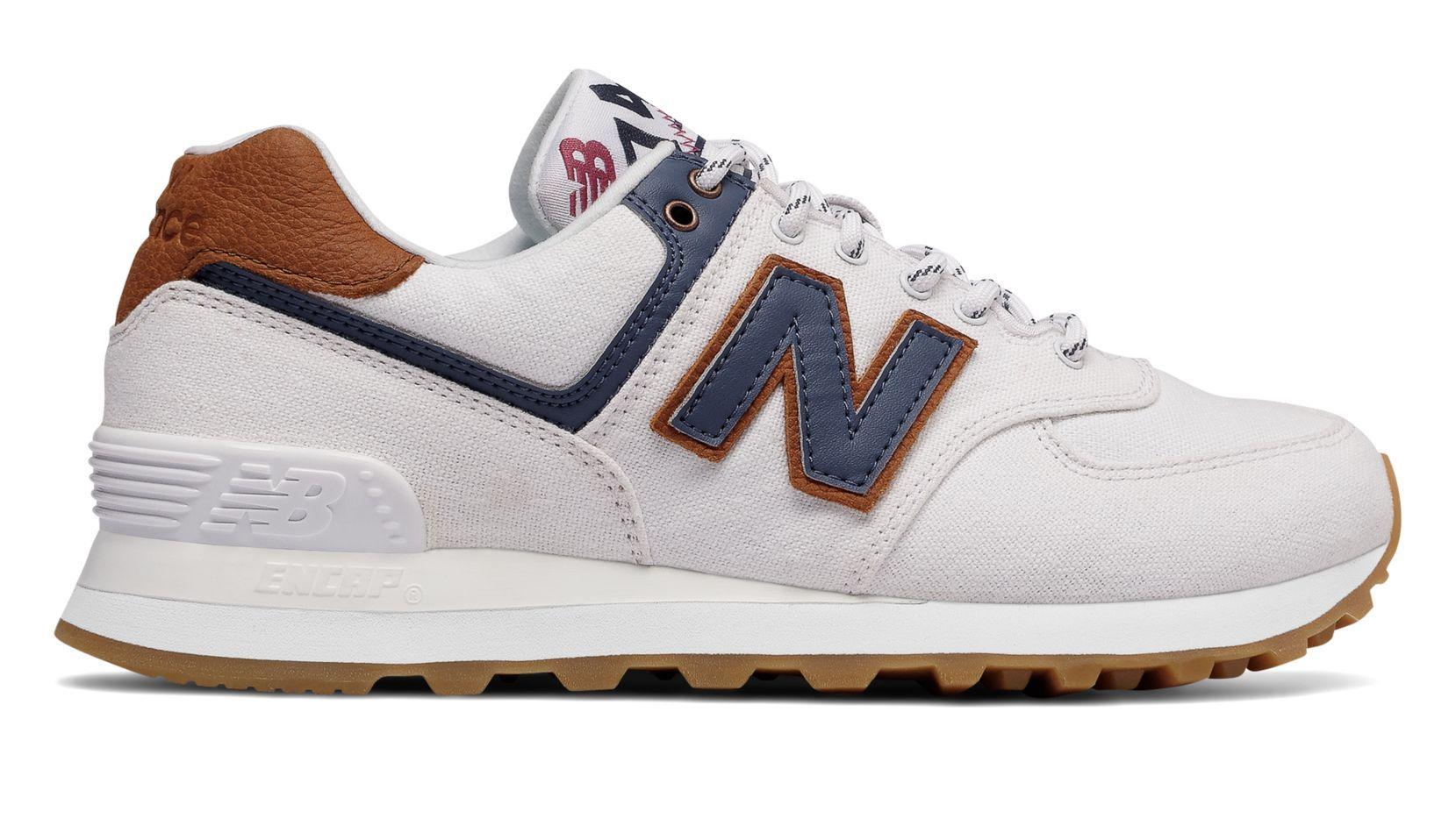 New Balance 574, White with Vintage Indigo Size 9 | New ...