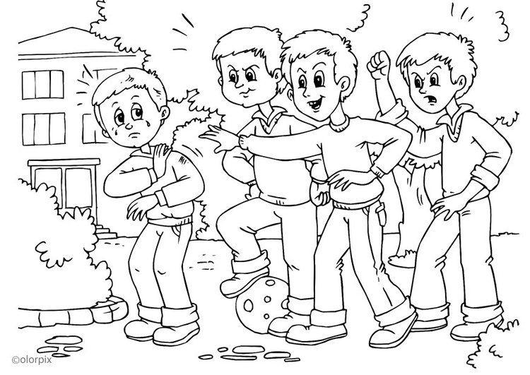 Dibujo Para Colorear A01 Pelea Acoso Escolar Lengua Bullying
