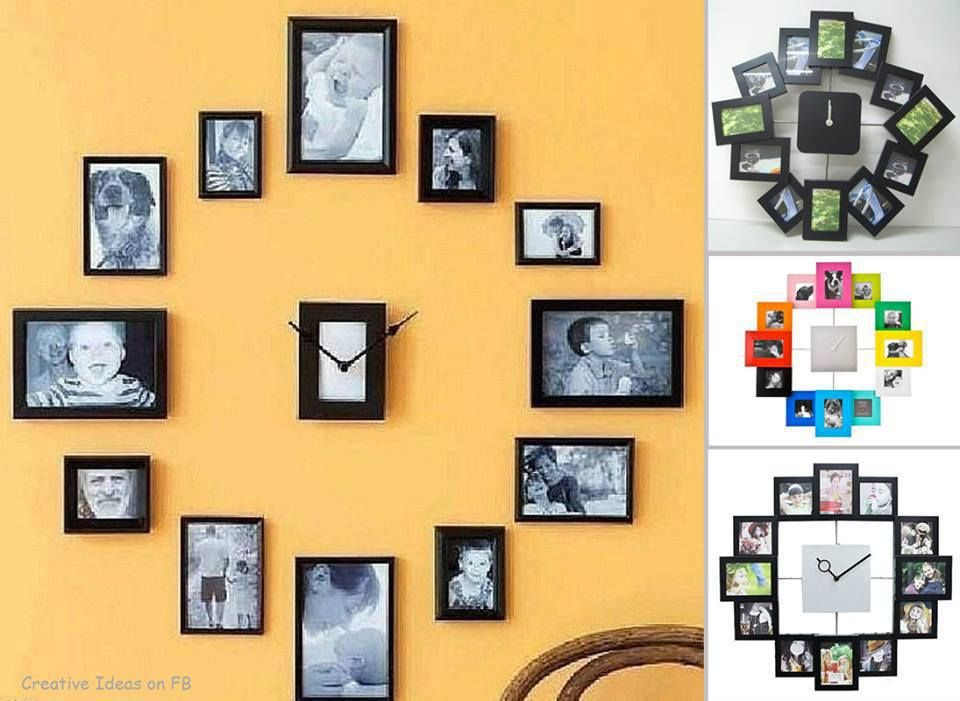 Turn your wall into something unique! Make a clock with your photos ...