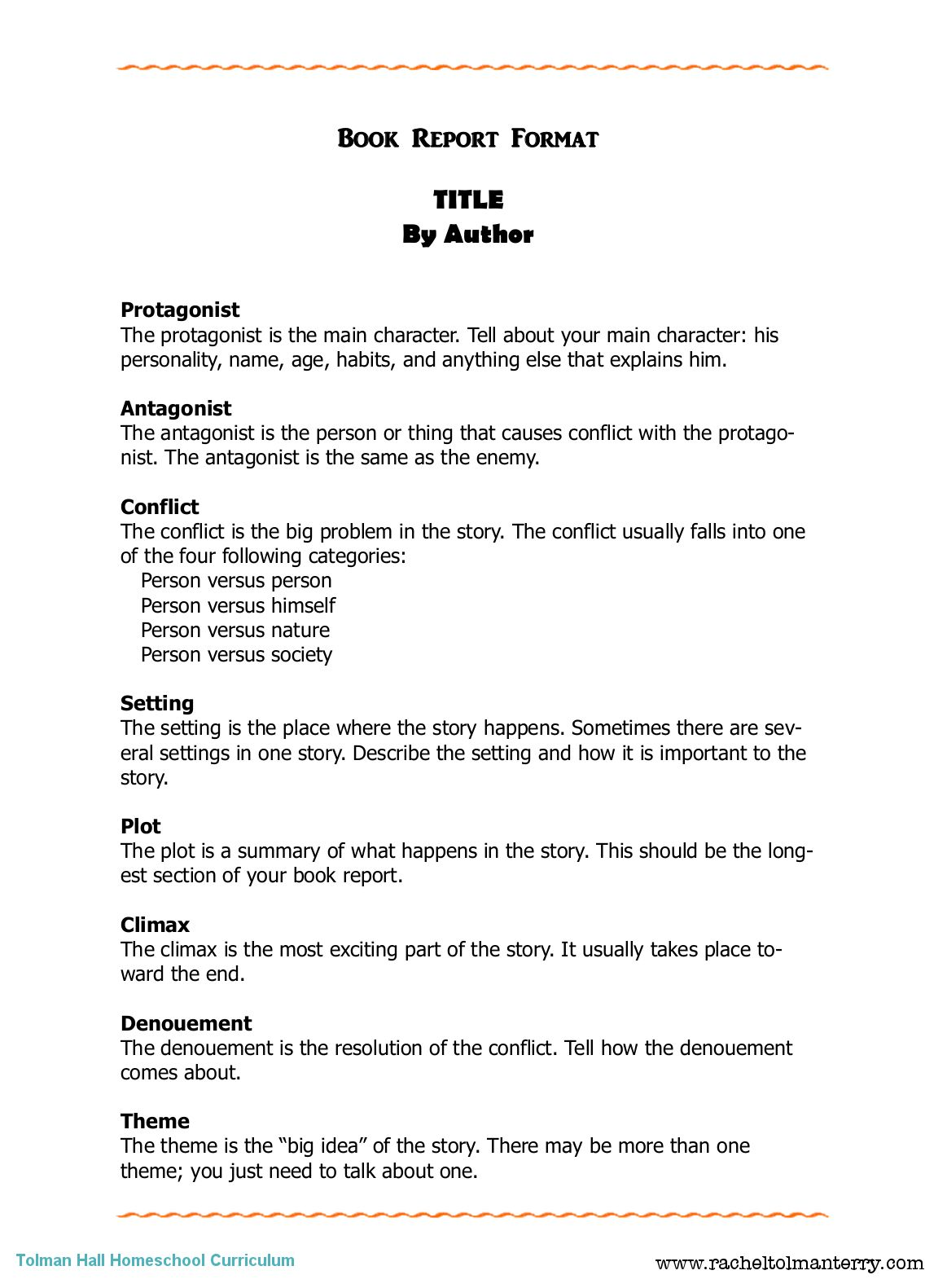 Book Report Format Can Be Used For Personal Or Assigned With