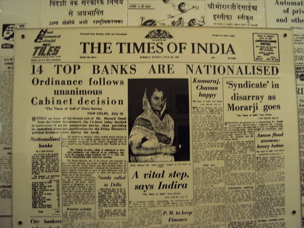 A Times Of India Newspaper Announcing The Nationalisation Of Banks Gandhi History Of India India