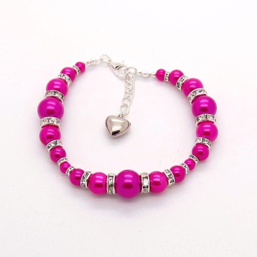 Shocking Pink 'Graduated Glass Pearl & Rhinestone' bracelet
