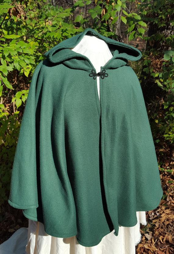 c559eb9be5 Short Fleece Cloak - Hunter Green Full Circle Cloak Cape with Hood ...