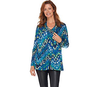 Susan Graver Printed Knit Cardigan and Tank Set