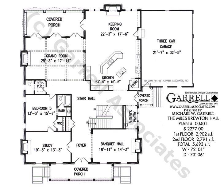 house plans with few hallways miles brewton hall house plan 00401
