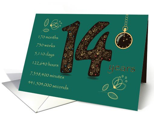 14th Birthday Golden Design Floral Number 14 Time Counting Card 14th Wedding Anniversary 14th Anniversary Gifts Funny Wedding Anniversary Quotes