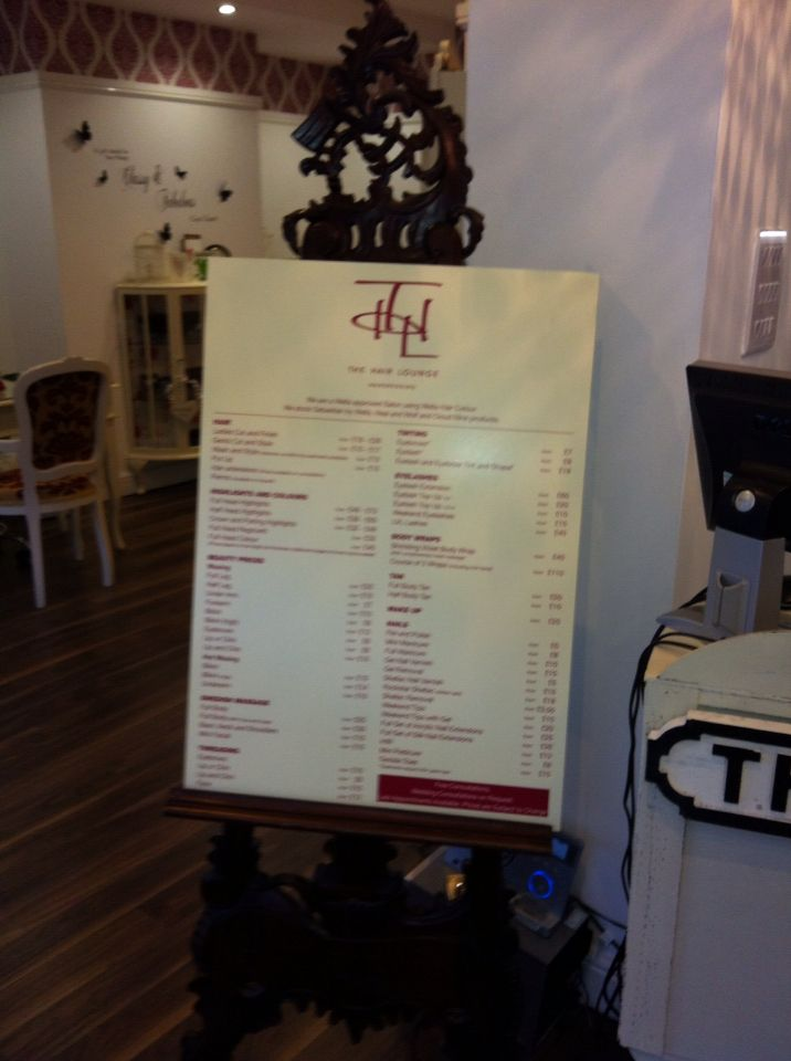 The hair lounge barrow price list on easel werk Pinterest - salon price list