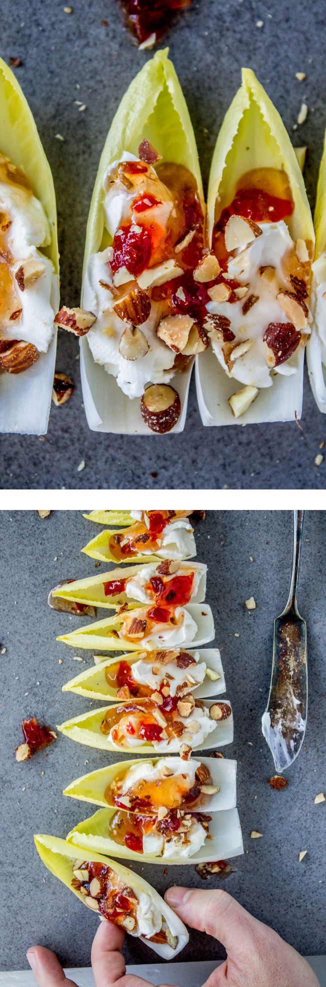 The easiest healthy appetizer! An endive leaf with cream cheese, red pepper jelly, and smokey almonds. Perfect to combat all the carb-heavy food this season. From the Food Charlatan.