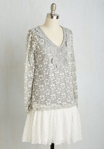 As the empress of all things sweet, you reign over your kingdom of cuteness in this lace dress! Below the ash grey bodice - detailed with floral lace and a crochet-trimmed neckline - lies a dotted, drop-waist skirt, making this lovely long-sleeved number a 'highness' priority in your collection!
