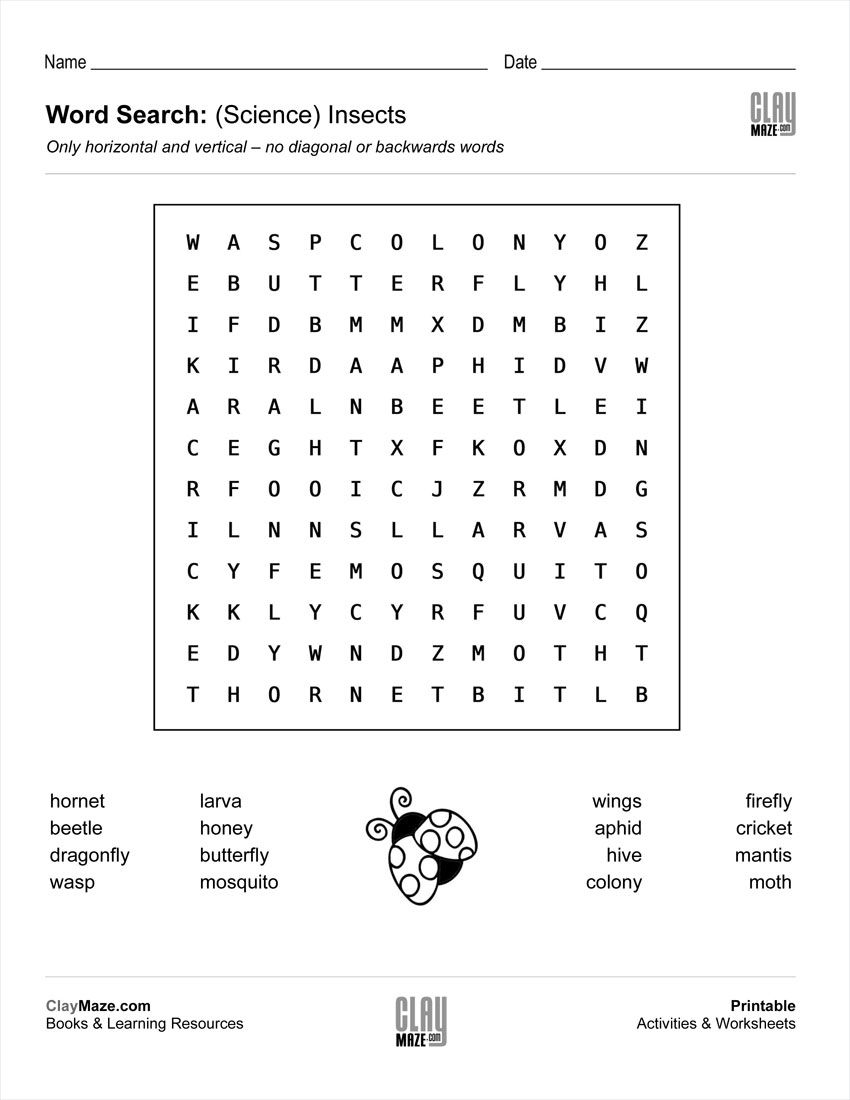 Download Our Free Word Search Puzzle All About Insects Recommended For Around First Grade Level Word Problem Worksheets Words Childrens Worksheets