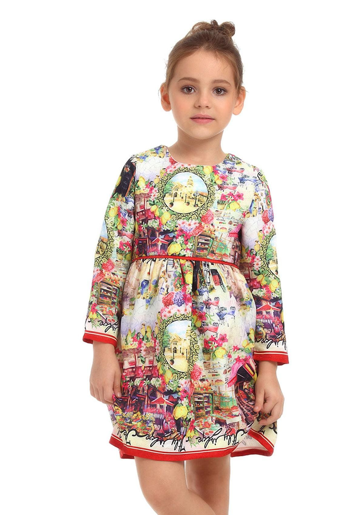 Toddler Girls Midi Dress With Quaint Firenze Printed For Summer 3 4t Made Of Polyester Easily Dyed And Resistant To Creasing I Girls Dresses Dresses Fashion [ 1700 x 1200 Pixel ]