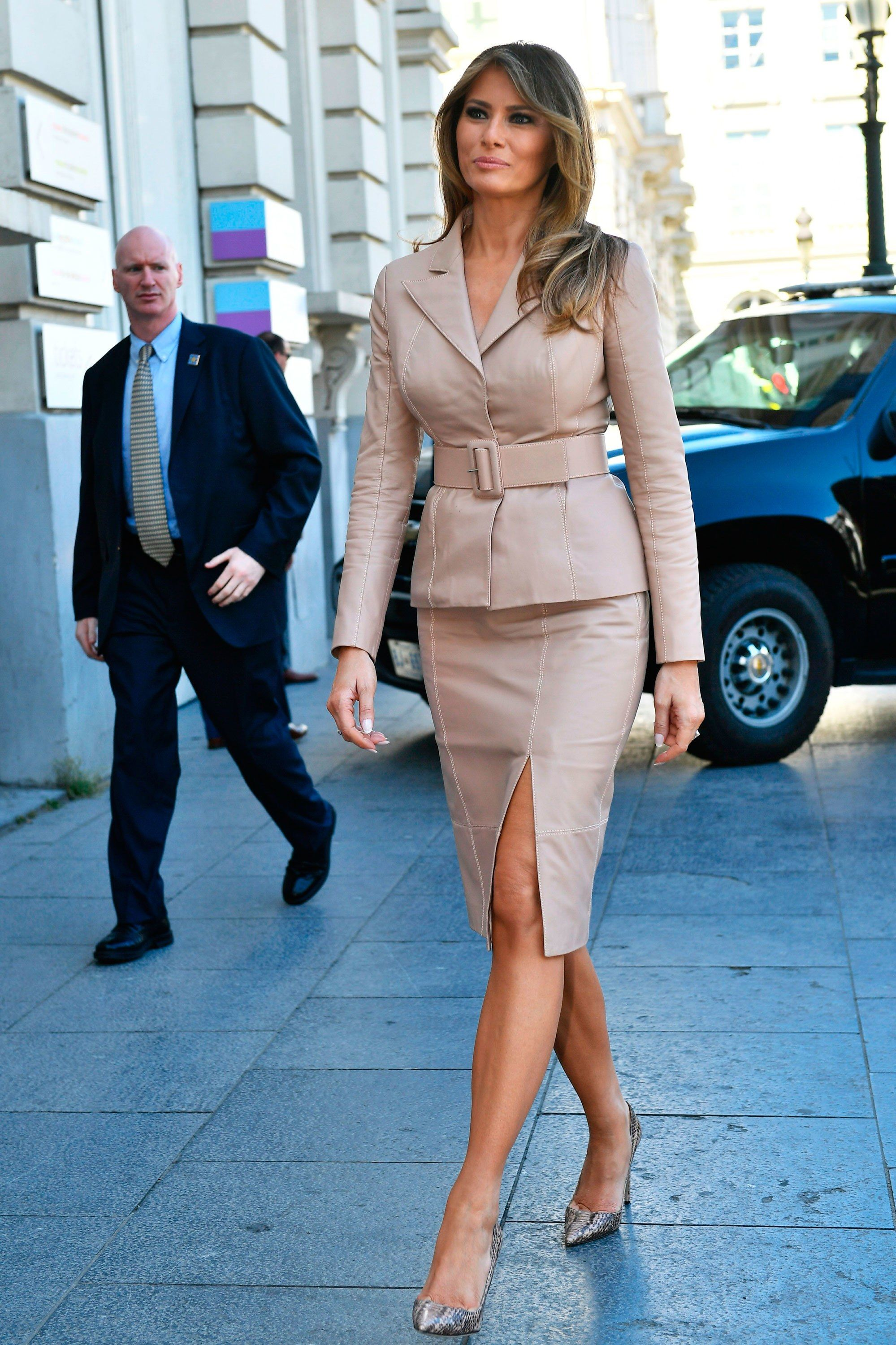 d42970af586e First Lady Melania Trump Wears Maison Ullens in Brussels