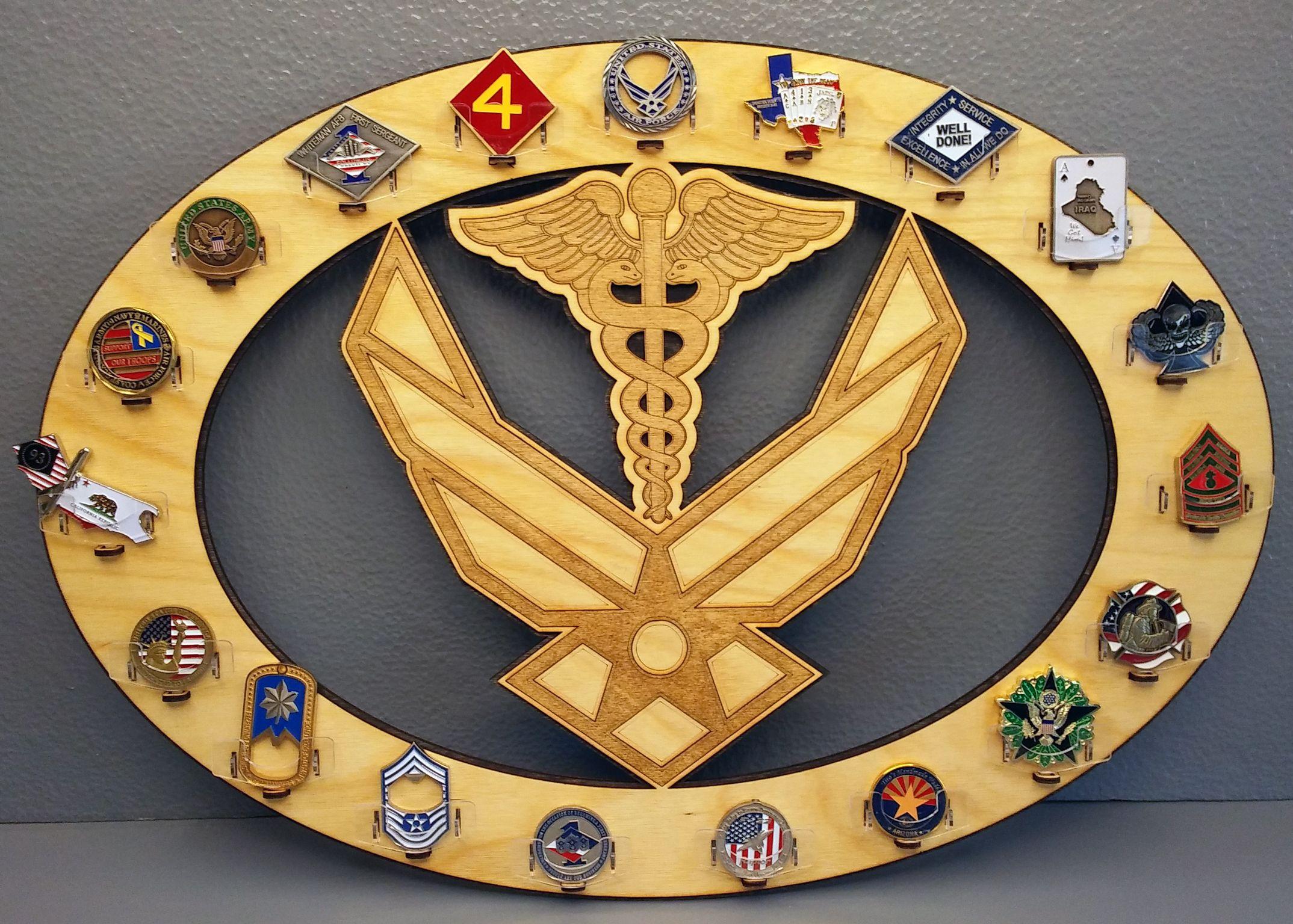 USAF logo & medical caduceus challenge coin holder