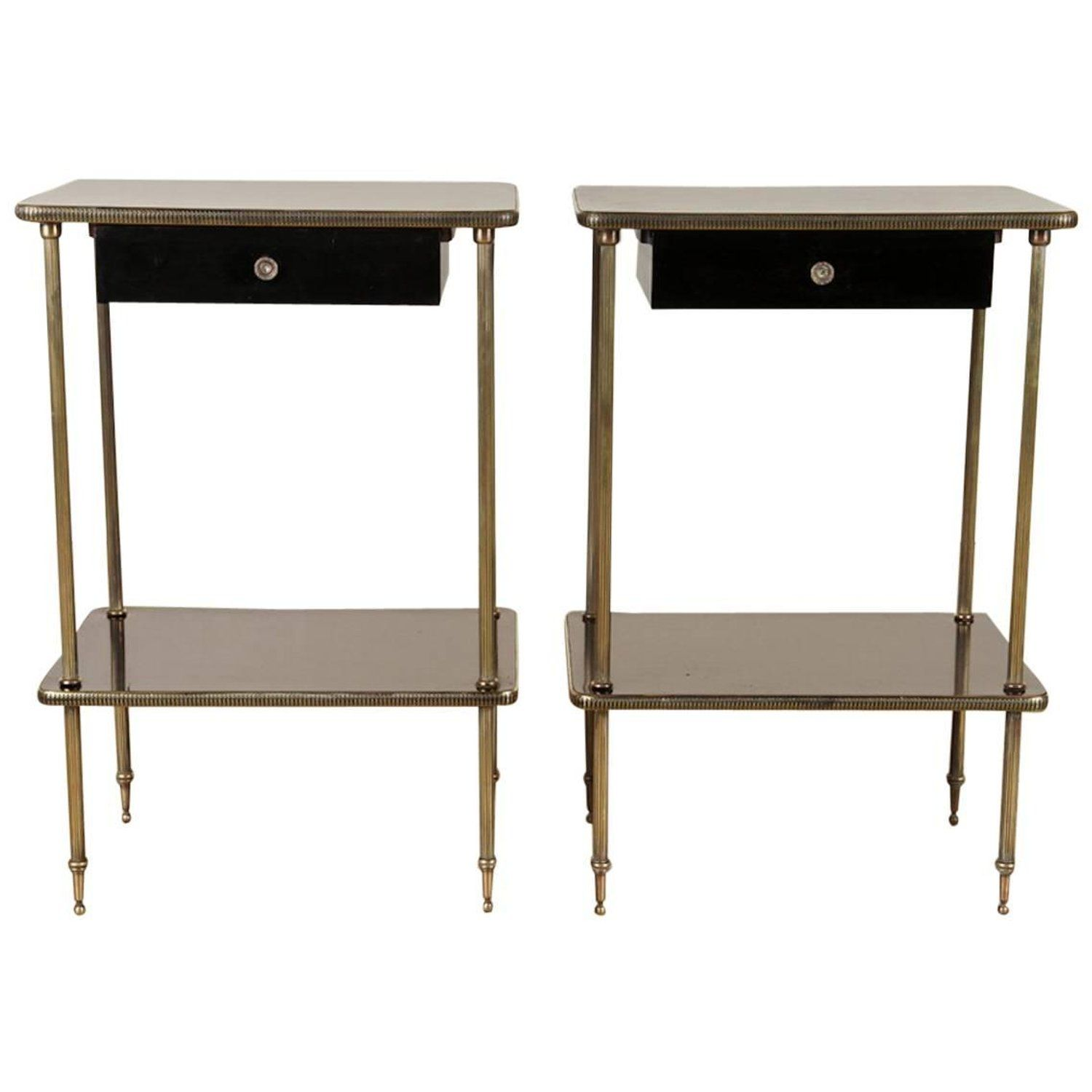 Elegant Pair Of Black Lacquer And Br End Or Bedside Tables