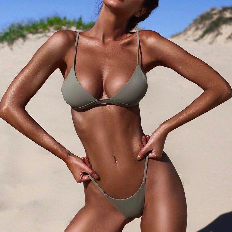 Women Brazilian Solid Swimwear Low Waist Wire Free Beachwear Bathing Suit New