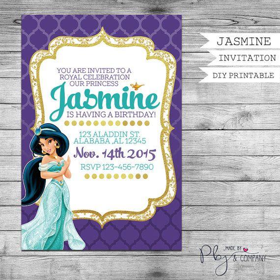 Princess Jasmine Invitation Birthday By PBJnCompany