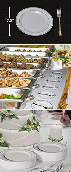 Wedding Cake Plates. 100 Heavyweight Elegant Plastic Disposable 7.5\u201d Small Plates \u0026 100 Silver & Wedding Cake Plates. 100 Heavyweight Elegant Plastic Disposable ...
