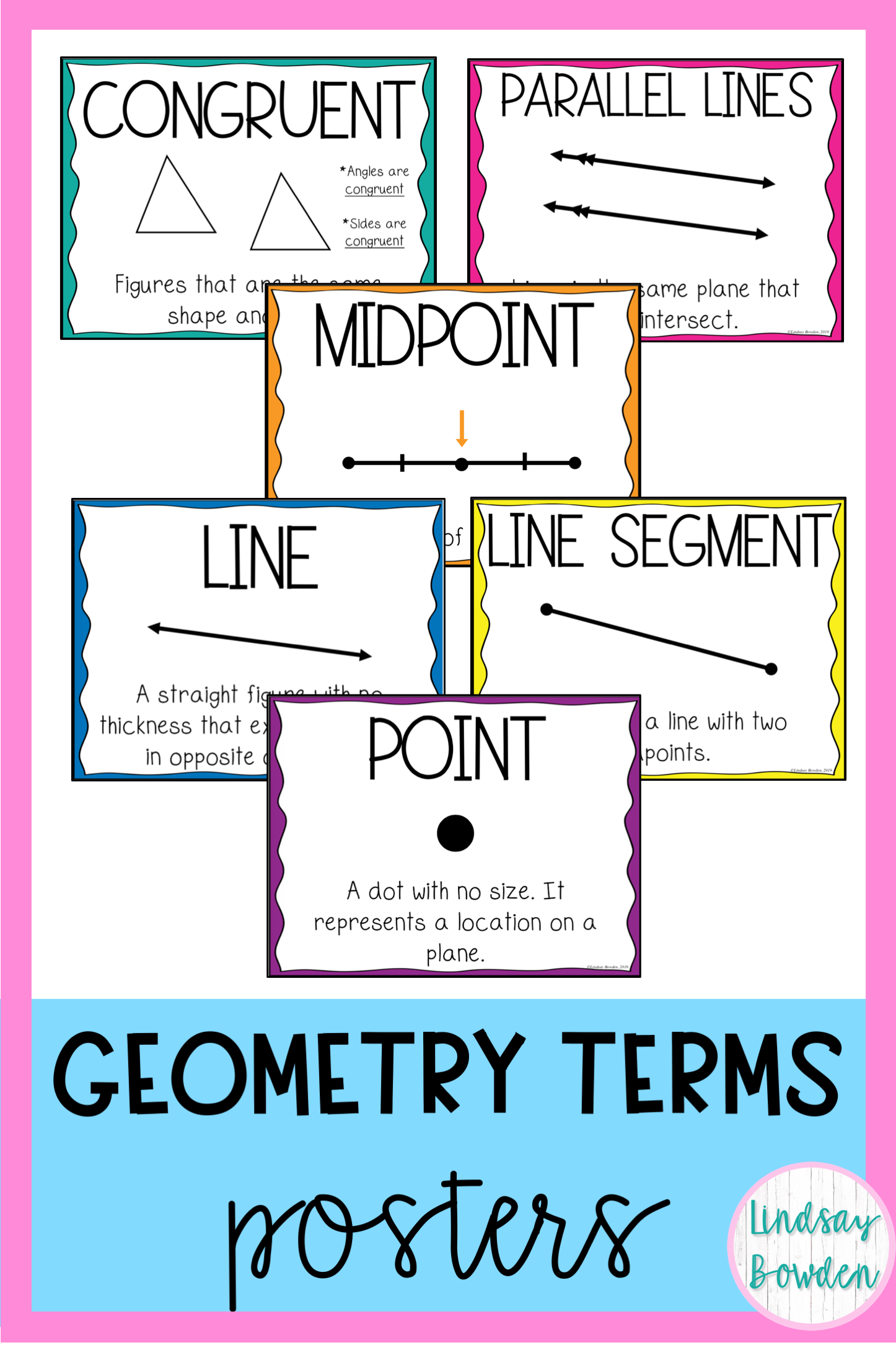 Geometry Vocabulary Posters For Middle School And High