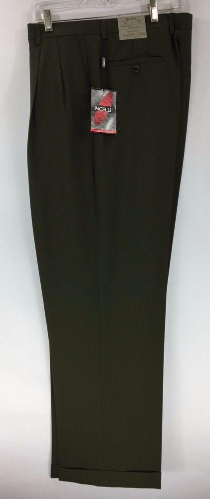 Men's Green Dress Pants 2-Pleats with Cuffed Hem Polyester Pacelli Pierce 36-58 #Pacelli #DressPleat