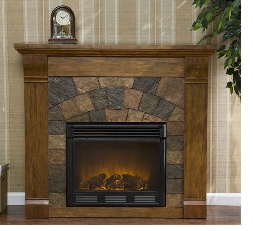 Holly And Martin Electric Fireplace Antique Oak Cabinet W Slate