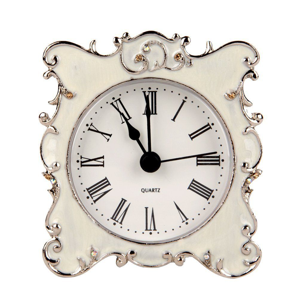Amazon Nikky Home Pewter Pretty Small And Cute Table Clock Fascinating Small Wall Clock For Bathroom Design Decoration