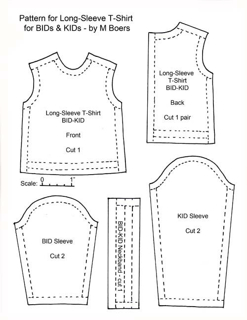 Pattern for a Long-Sleeve T-Shirt for BIDs and KIDs - M. Boers | moldes
