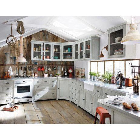 Meuble bas de cuisine avec évier en bois d acacia gris L 120 cm