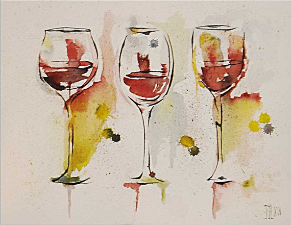 Wine Glasses Watercolor Painting Watercolor Paper Arches 300 Grs