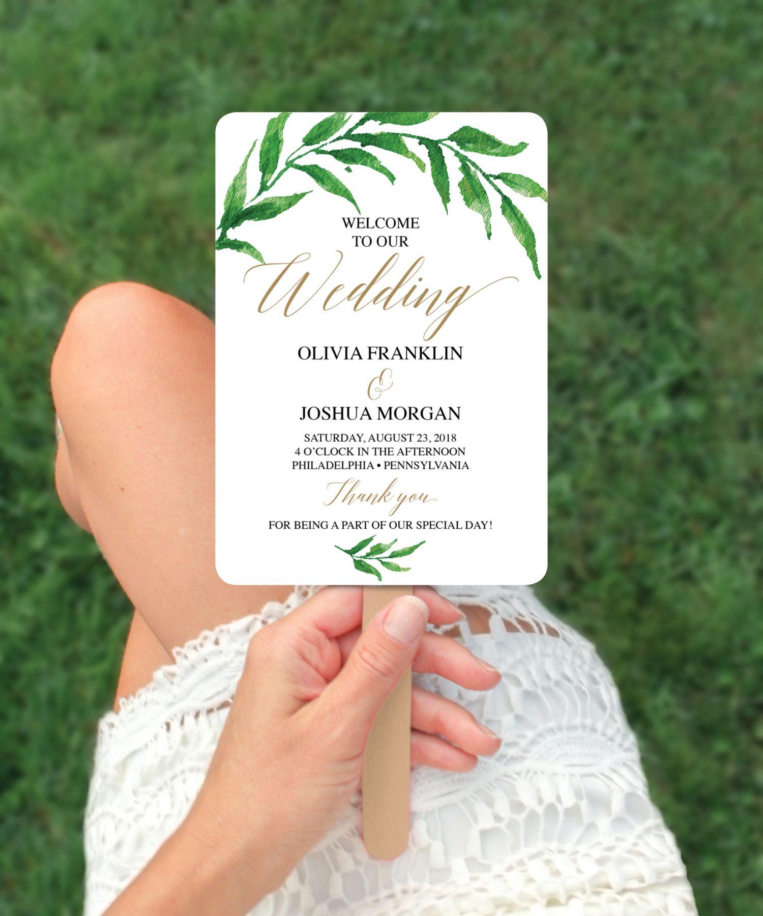 Greenery printable wedding program fans fan wedding program fan