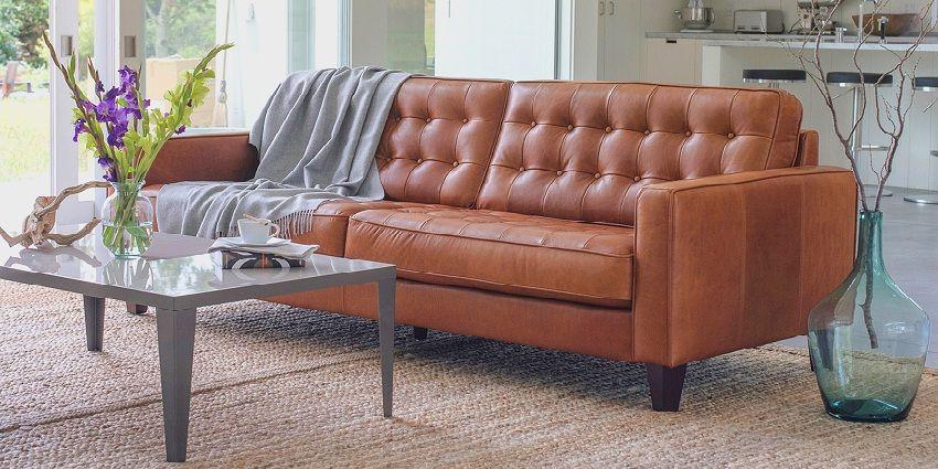 Scandinavian Style Leather Sofa