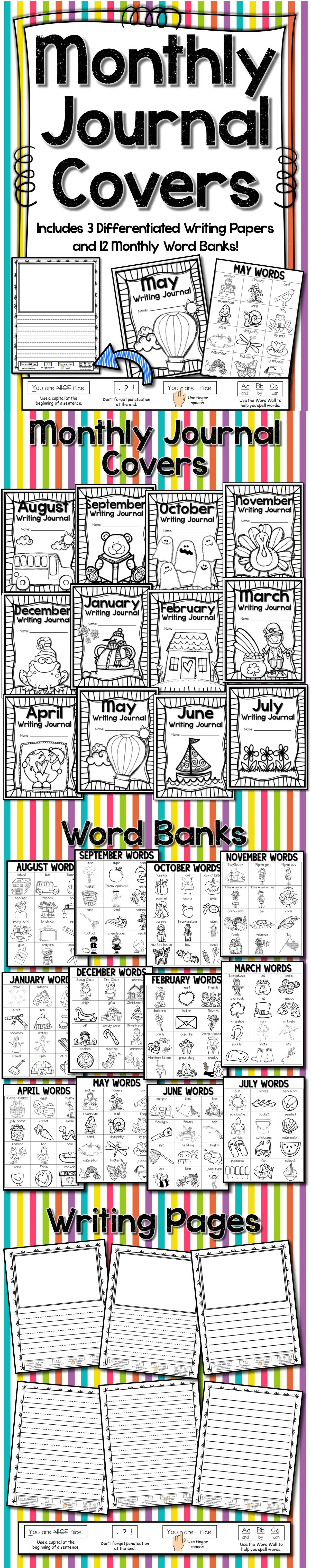 Monthly Journal Covers Word Banks Writing Pages With Editing Reminders